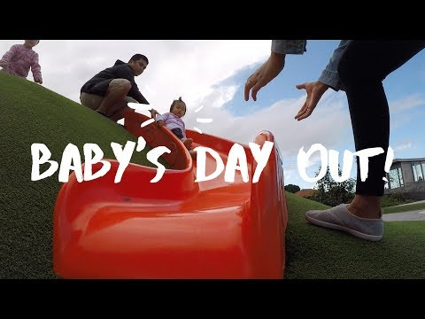 VLOG 6: A NICE DAY AT OTAHUHU LIBRARY AND LEISURE PARK | BABY'S FIRST SWING RIDE AND SLIDE