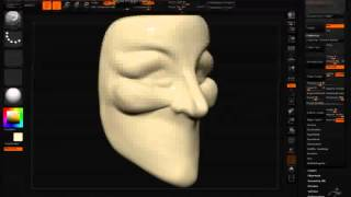 V for Vendetta mask (anonymous mask) ZBrush speed sculpting