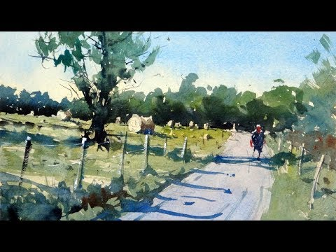 How to paint a rural scene and composition tips - Watercolor demo by Tim Wilmot #22