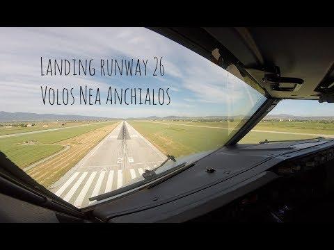 VOR approach and landing runway 26 Volos Nea Anchialos, Almiros airport (VOL LGBL)