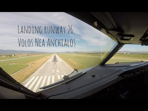 VOR approach and landing runway 26 Volos Nea Anchialos, Almiros airport (VOL LGBL)
