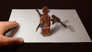 3D Рисунок Дедпул ЛЕГО