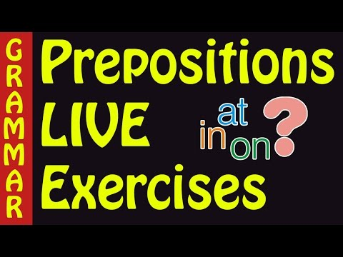Preposition exercises with answers -  on in at prepositions of time