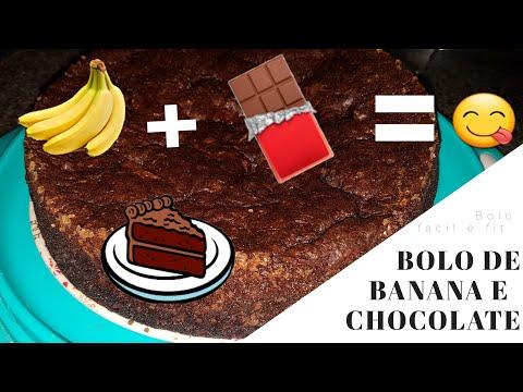 Bolo fácil de banana com chocolate fit - Camila Costa