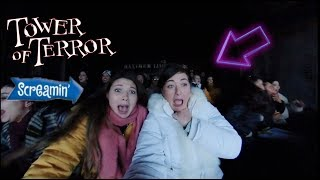 TERRIFIED ON THE ALL NEW TOWER OF TERROR ELEVATOR DROP RIDE! VLOGMAS DAY 7