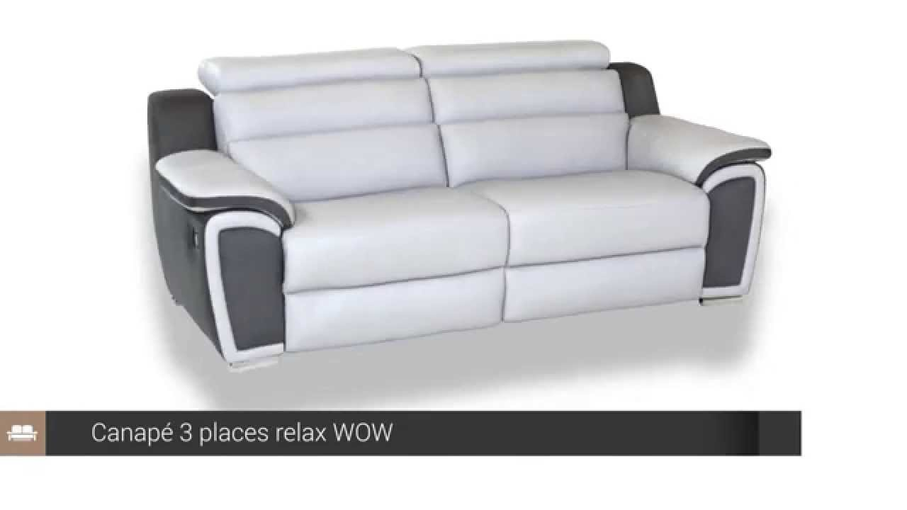Canap 3 places relax cuir wow but youtube for Canape convertible bon couchage
