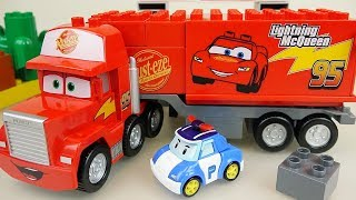 Cars truck and block car toys with Robocar poli and surprise eggs toys play