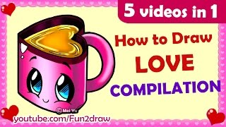 How to Draw Easy, Cute, Love, Cartoons for Family & Friends