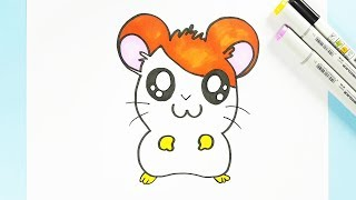 How to Draw a Cute Kawaii Hamster Easy Step by Step | Draw Hamtaro for Kids with Color Learning