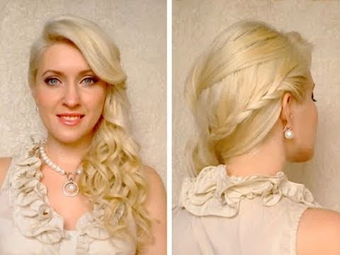 Side swept braided hairstyle with curls for prom wedding Frisuren mit zpfen fr lange haare