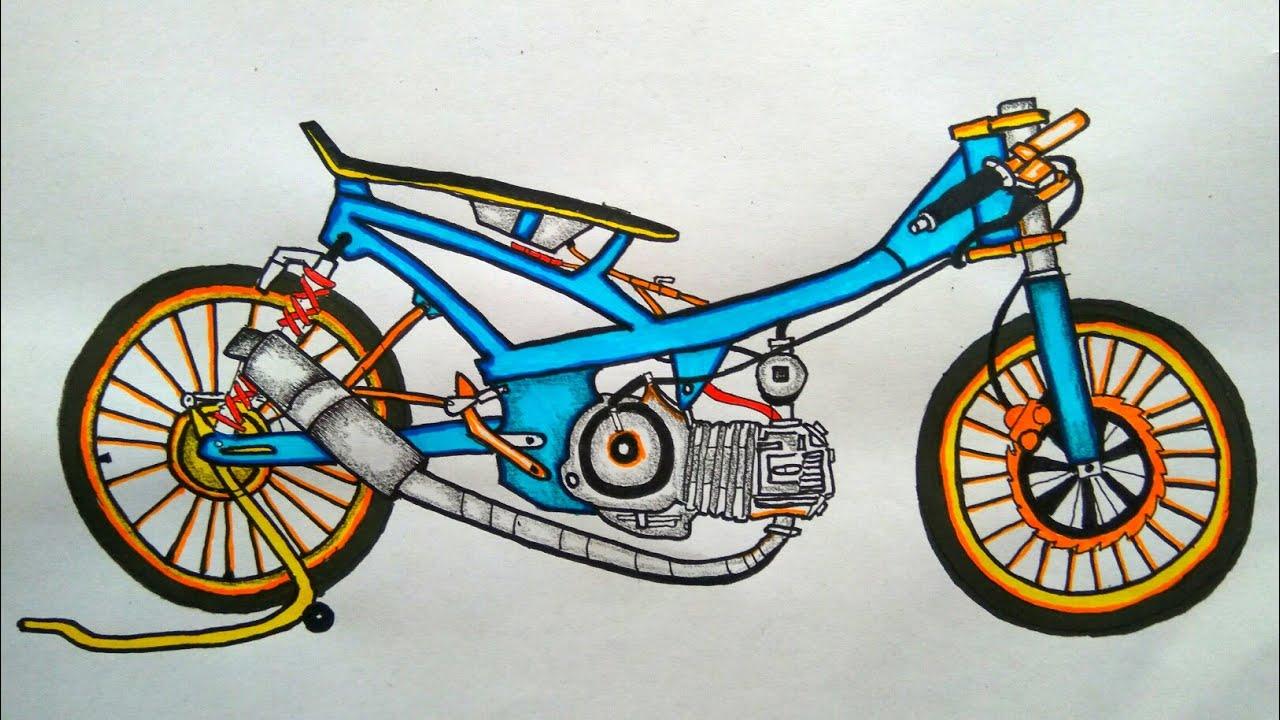 Menggambar Motor Drag Bike 200cc