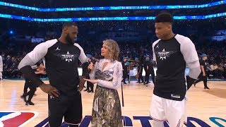 LeBron James & Giannis Antetokounmpo interview before 2nd half of the All Star Game