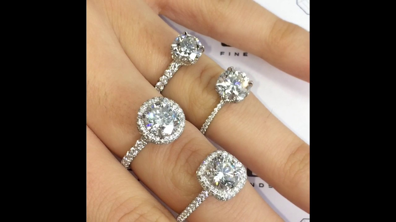 diamond a prong gold cathedral white cushion rockher engagement with two cut setting bands double row in jewellery ring