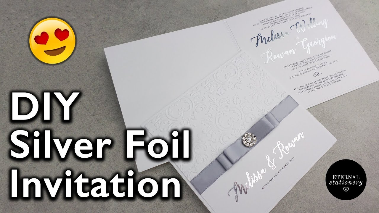 elegant silver foiled embossed damask invitation wedding