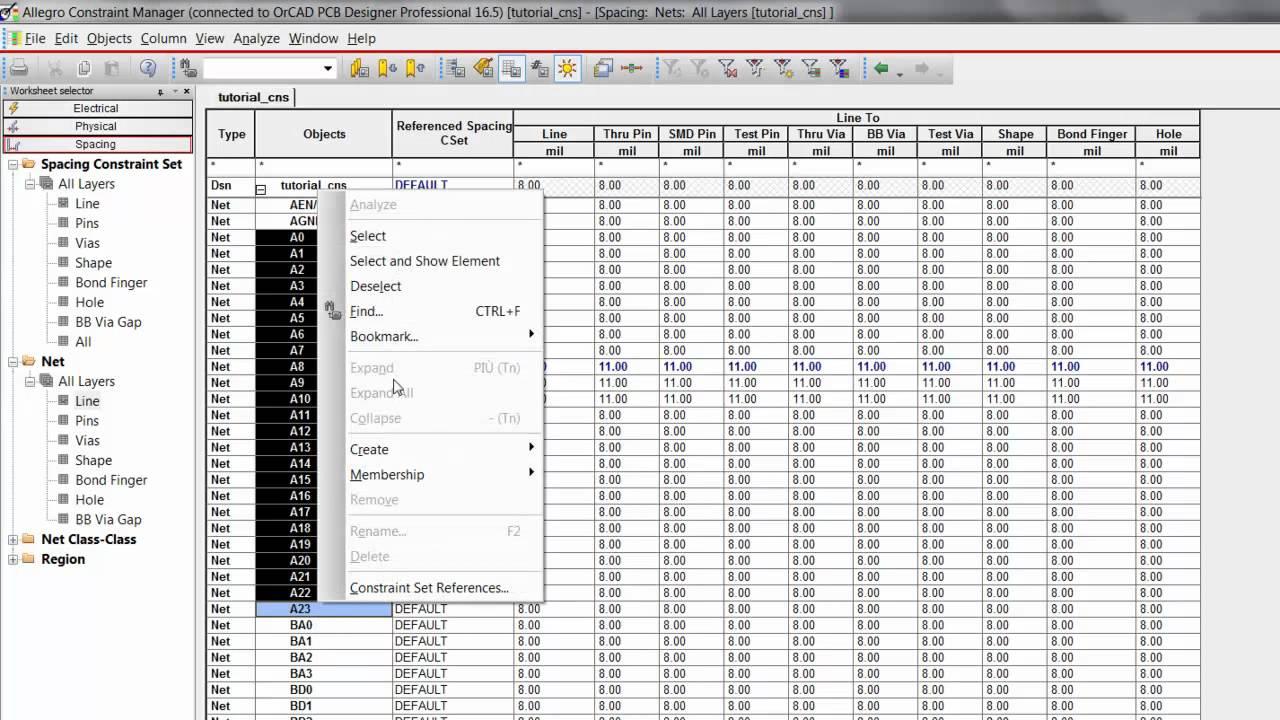 OrCAD Tutorial #12 Ita: Definizione constraint Spacing (isolamenti, etc   )  - OrCAD PCB Designer