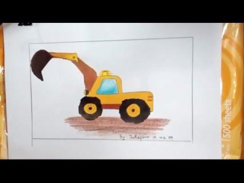รถแม็คโครตักดิน วาดภาพระบายสี,excavator drawing
