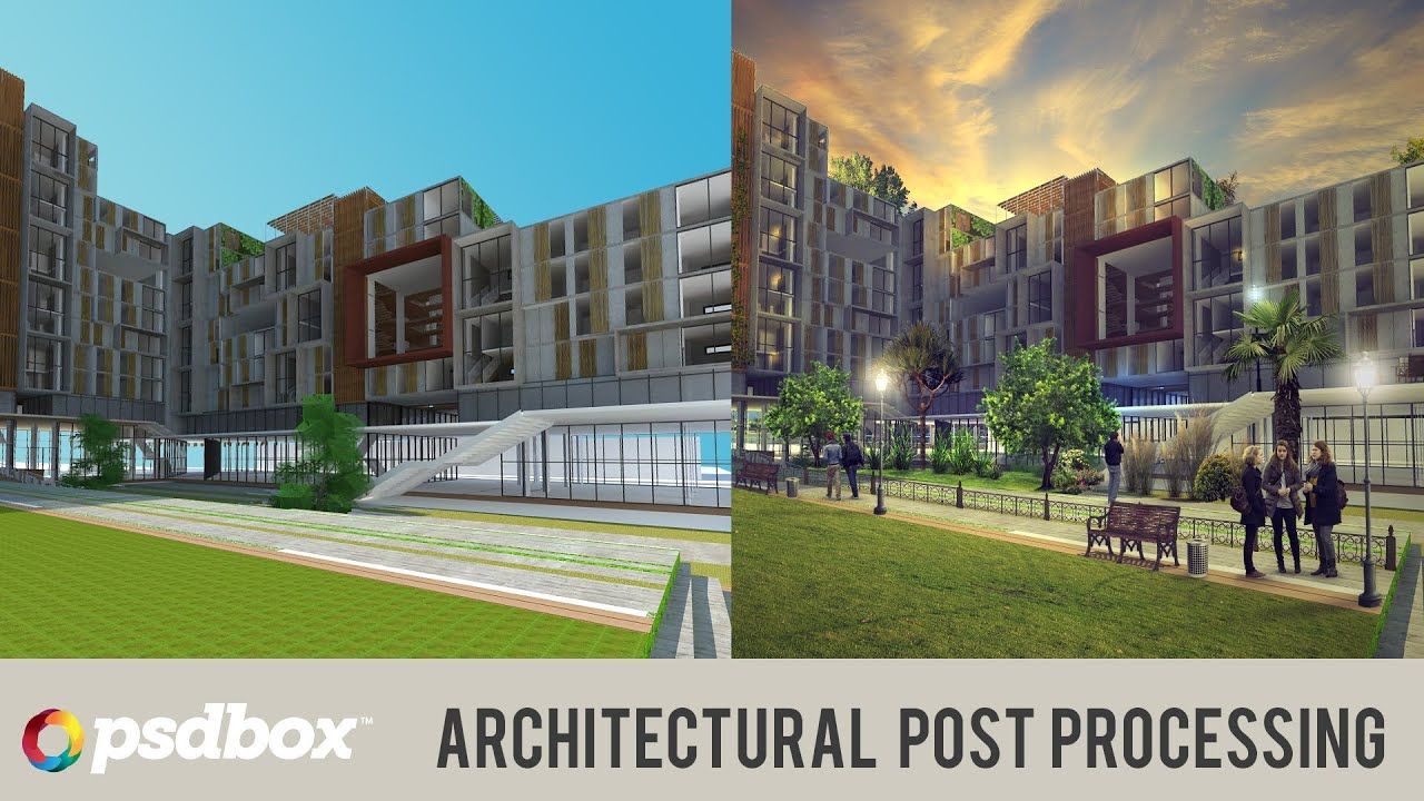 Architectural Post Processing In Photoshop Psd Box Youtube