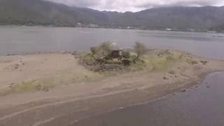 『Japan drone landscape』空撮 山梨県 河口湖 六角堂