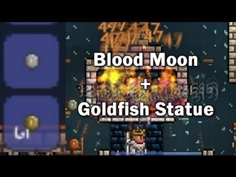 Terraria - Blood Moon Goldfish Farm And Blueprints (Request)