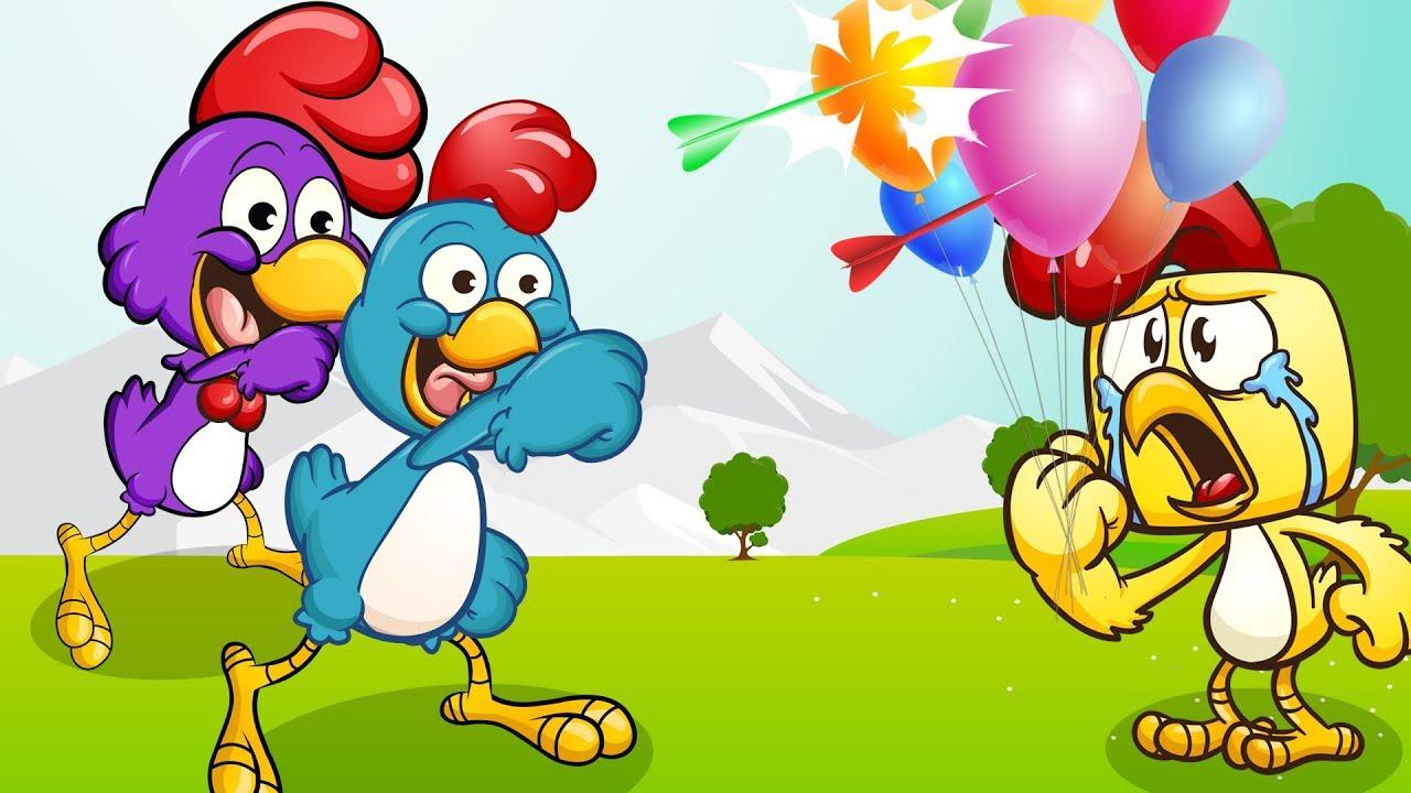 Chicken Finger Family Bursting Colors Balloons - Nursery Rhymes & Kids Songs