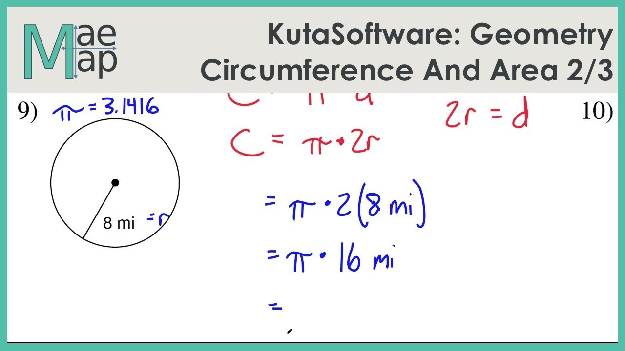 KutaSoftware: Geometry- Circumference And Area Of Circles Part 1 - YouTube [ 720 x 1280 Pixel ]
