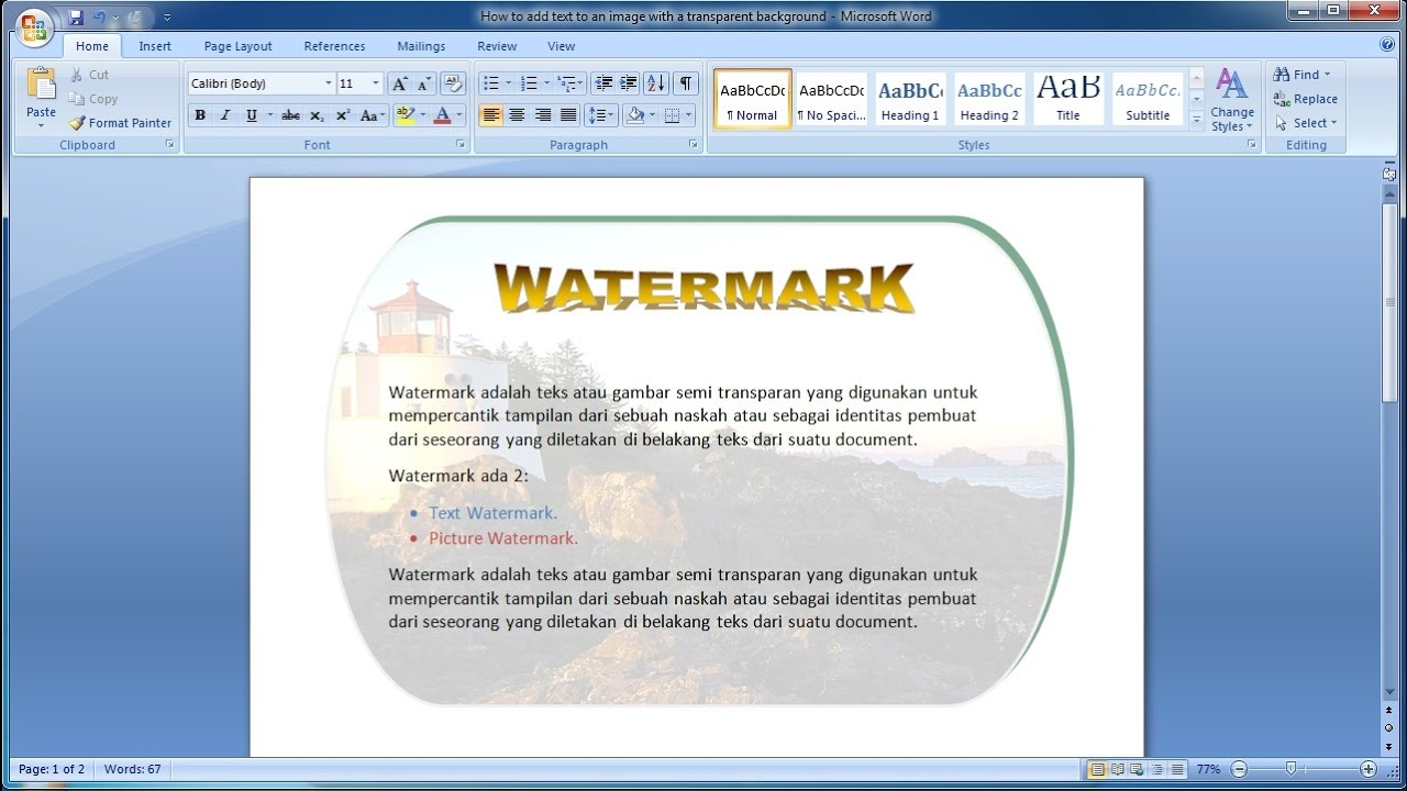 Insert a background image in word - Microsoft Word Tutorial How To Add Text To An Image With A Transparent Background In Word