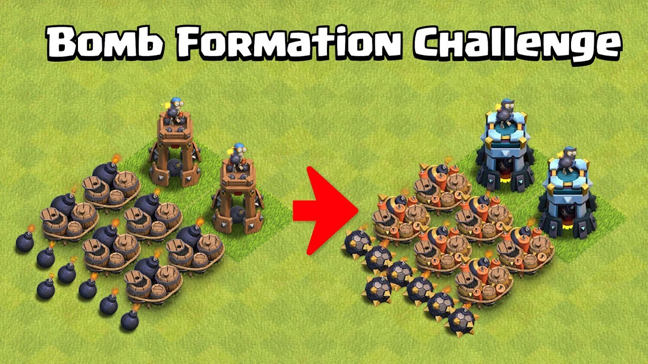 Super Bomb Formation Challenge | Every Troops VS Bombs Formation | Clash of Clans