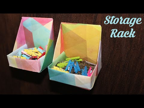 How to make Paper Storage Rack, Easy Basic Simple Origami for Beginners Kids, Paper DIY Crafts Work