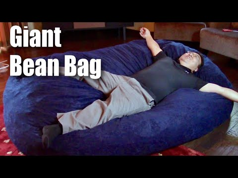 Big Joe 7 Foot XXL Fuf Giant Bean Bag Chair In Blue Comfort Suede