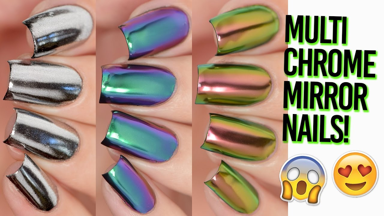Rainbow Multi-Chrome Mirror Nails Shiny AF! DIY - YouTube