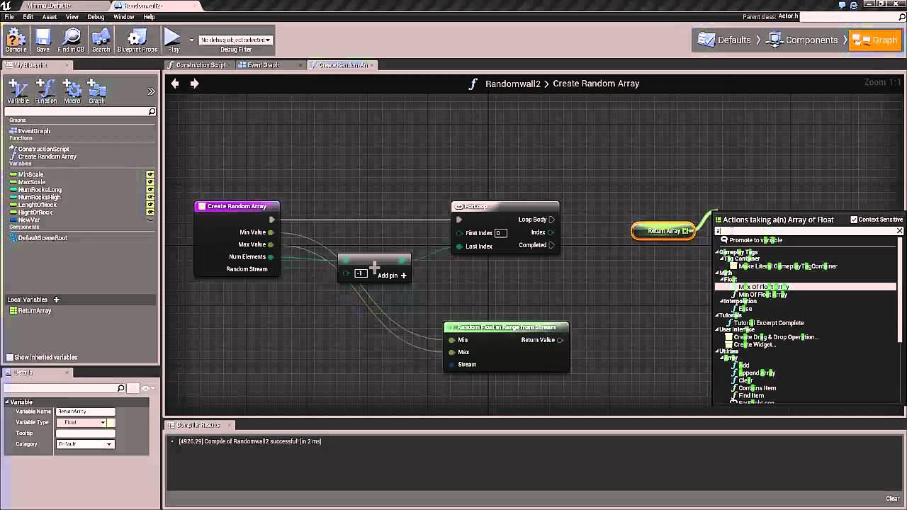 UE4 tutorial: Part 2  create a procedural randomized wall with blueprint