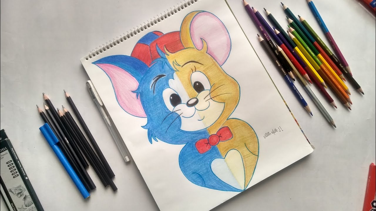 Tom & Jerry - Pencil Colour Drawing   Nitin Epic - YouTube