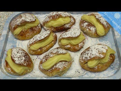 Нежные булочки на закваске с заварным кремом быстрого приготовления