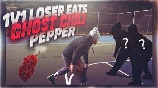 1 V 1 BASKETBALL! LOSER EATS THE HOTTEST PEPPER! *PAINFUL*