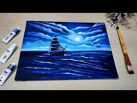 Acrylic painting of a moonlight night with a beautiful ship 2020/ Acrylic painting for beginners