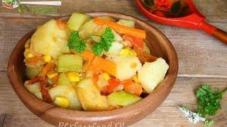 Овощное рагу с кабачками и кукурузой