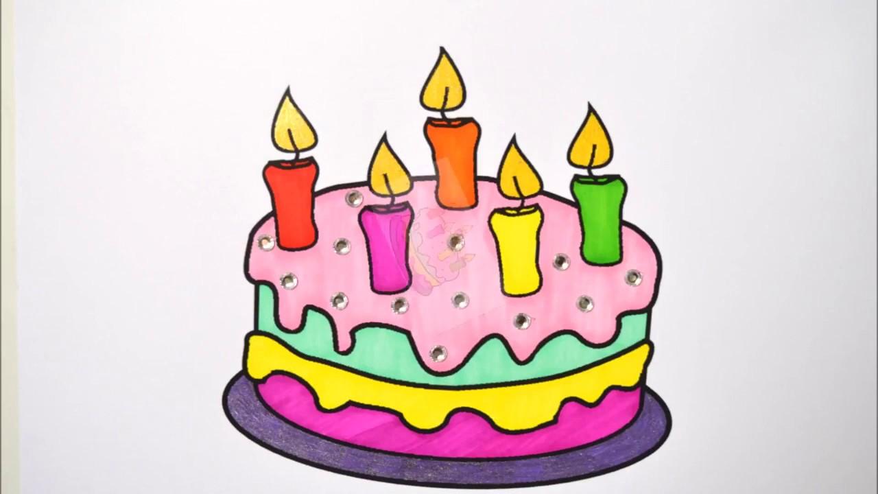 Doğum Günü Pastası çizimi Ve Boyaması Kolay çizim Youtube