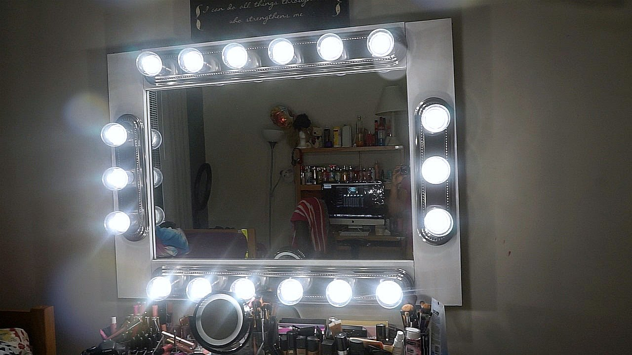 DIY MAKEUP VANITY MIRROR WITH LIGHTS UNDER 200 YouTube