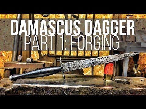 MAKING A DAMASCUS DAGGER #1! Fairbairn Sykes Style!