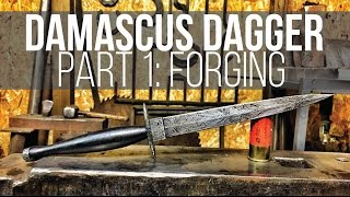 MAKING A DAMASCUS DAGGER #1! Fairbairn Sykes Style!