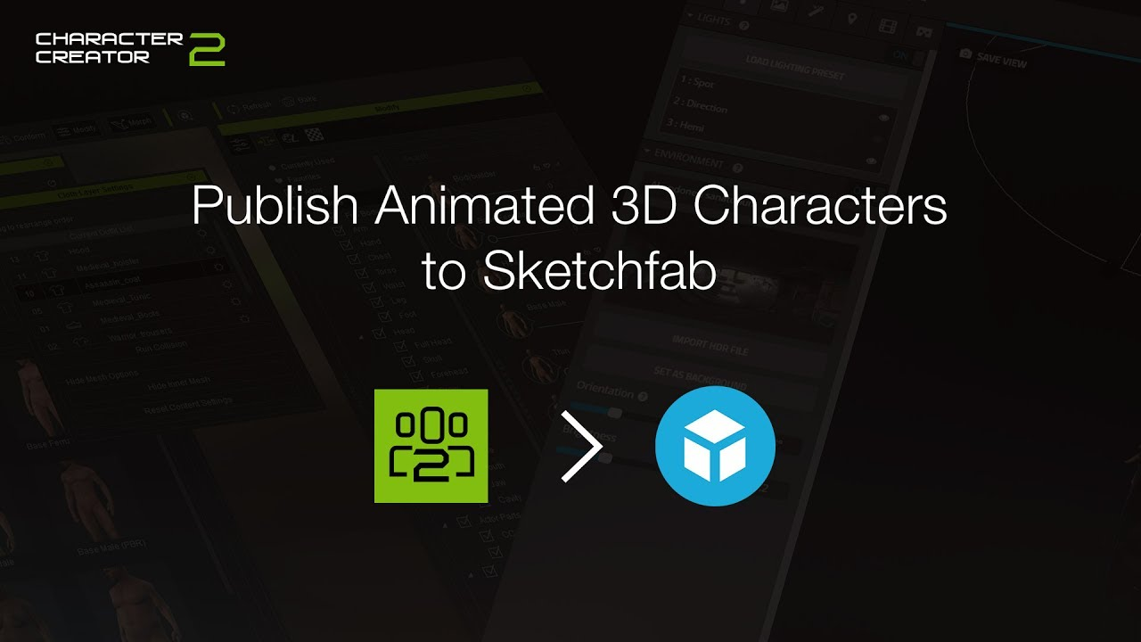 Character Creator 2 - Publishing Animated 3D Characters to Sketchfab