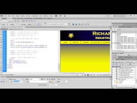 Dreamweaver - 16 - Fixing DIV Tags, Adding Gradient, Creatintg A Web Server & Creating A Template