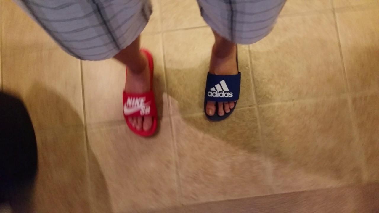 deae05eda Adidas slides vs Nike slides - YouTube