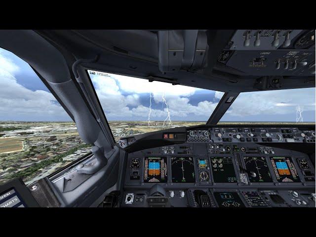 P3D V4.5 Landing at Baku Airport 737-800 Turkish with lots of rain and lightning 4K