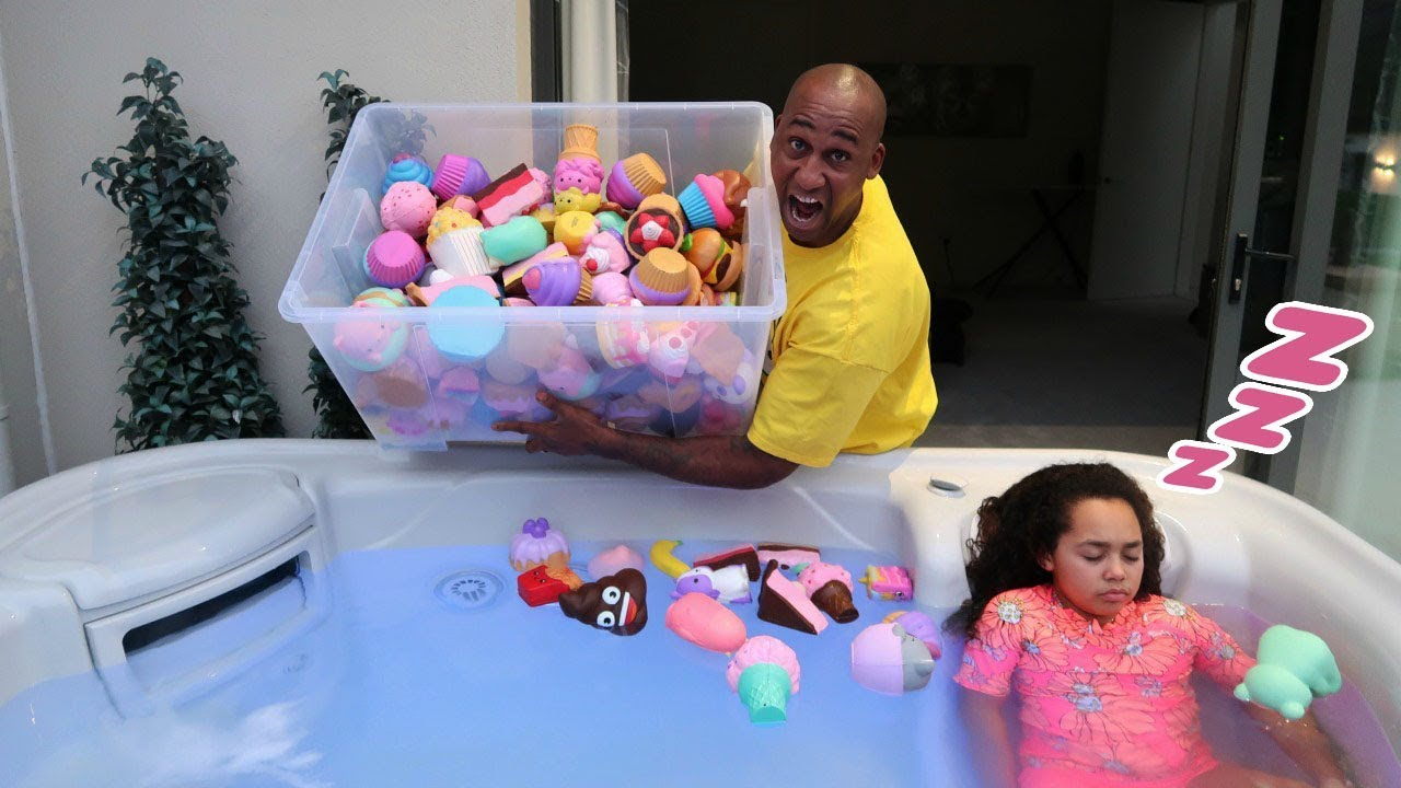 Tiana S Squishy Toys In Hot Tub Prank Youtube