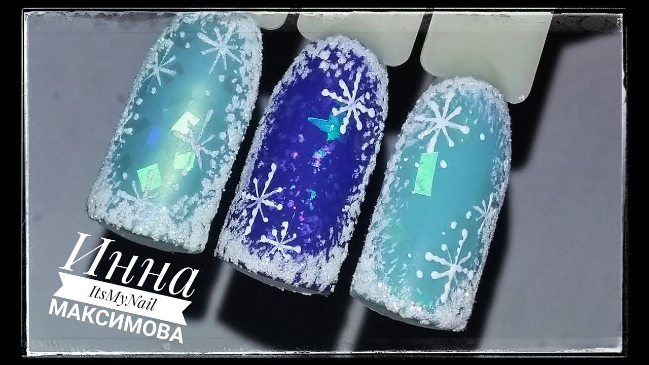 дизайн ногтей снежинки 2