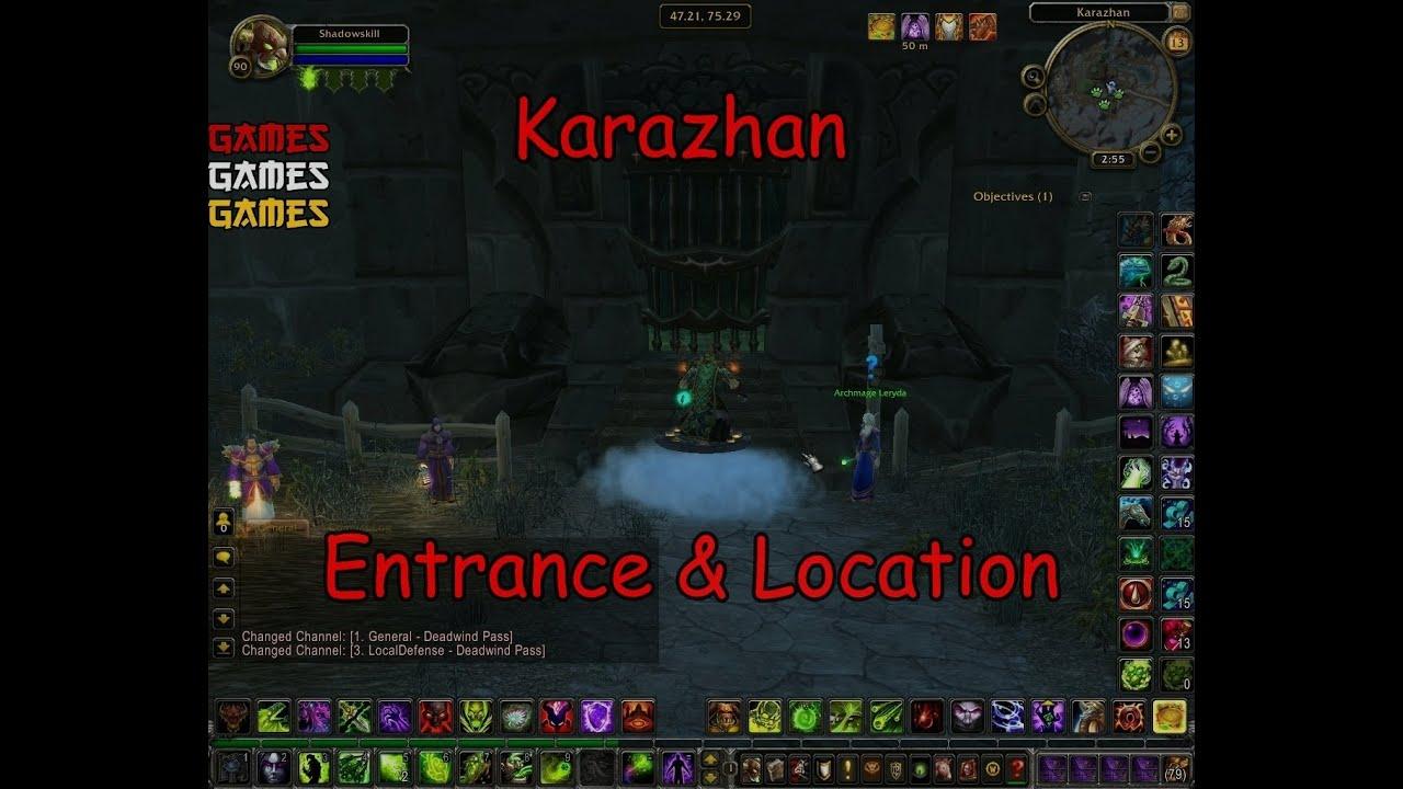 karazhan raid entrance location youtube. Black Bedroom Furniture Sets. Home Design Ideas