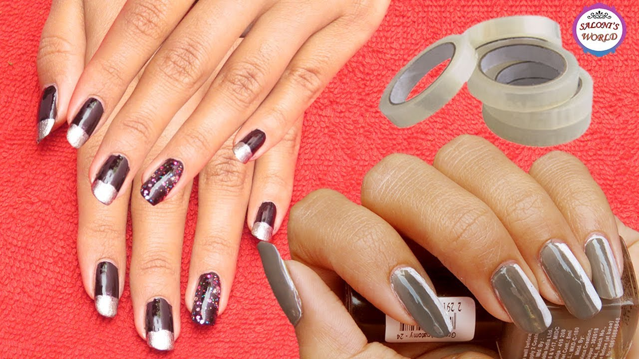 Diy The Best Nail Art Designs Using A Cello Tape Without Any Tool By