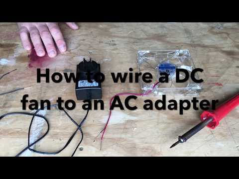 How to wire an DC computer fan to AC adapter.