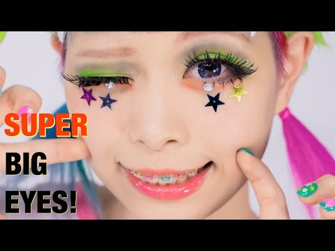 SUPER BIG EYES makeup TUTORIAL Lashes & Hairstyle by Kurebayashi Japanese Kawaii model | 紅林大空超デカ目メイク
